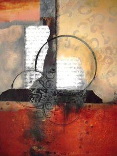 """BARBARA VAN ROOYAN ABSTRACT ART: """"Zon"""" Original Abstract, Mixed Media Painting by California Contemporary Mixed Media Artist Barbara Van Rooyan"""