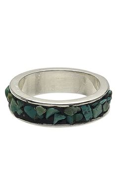 Ring with Turquoise Gemstone Chips and Apoxie® Sculpt by Taylor at Fire Mountain Gems and Beads. #mensjewelry #mensring