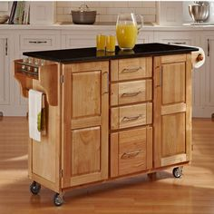 Kitchen Carts - Mix and Match Natural Kitchen Cart Cabinet w/ Black Granite Top  | kitchensource.com