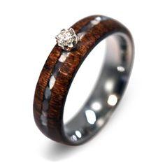 A la ventaanillo de diamantes anillo de madera w por jewelrybyjohan