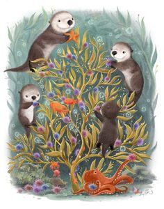 baby ilustration Baby Ilustration Christmas in a kelp forest, Sydney Hanson Animal Drawings, Cute Drawings, Otters Cute, Kelp Forest, Otter Love, Of Wallpaper, Children's Book Illustration, Spirit Animal, Cute Art