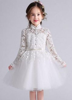 Princess Long Sleeve Tulle Hollow Out Lace Applique Girl's Flower Wedding Dress Baby Girl Party Dresses, Little Girl Dresses, Girls Dresses, Tulle Flower Girl, Flower Girl Dresses, Flower Girls, Wedding Dresses With Flowers, Dress Wedding, Kids Gown