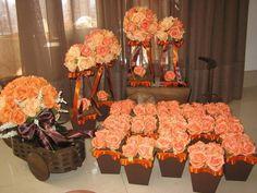 Decoração laranja e marrom para festas I
