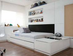 love the bedroom! Ikea Kids Room, Kids Bedroom, Modern Teen Room, Bedroom Built Ins, Room Interior, Interior Design, Kid Spaces, Kid Beds, Room Decor