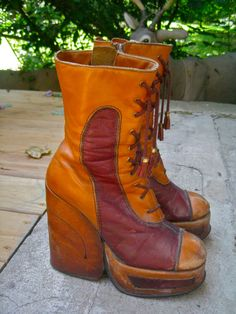 0bc0b9fef1d True VINTAGE PLATFORM 1970s BOOTS Mid Calf 8 One by atomicpassion