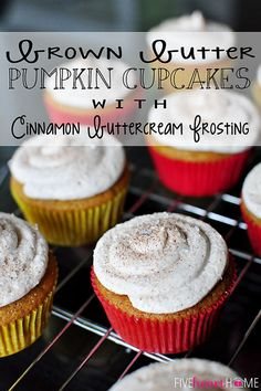 Brown Butter Pumpkin Cupcakes with Cinnamon Buttercream Frosting ~ perfect for the kids and non-pie eaters on Thanksgiving! | {Five Heart Home}
