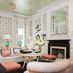Union Square Wallpaper, Eclectic, living room, Tobi Fairley