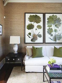 Suzie: Urban Grace Interiors - Gorgeous tan & green living room design with tan beige ...