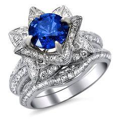 2.65ct Round Blue Sapphire Diamond Lotus Flower Engagement Ring Bridal Set 14k