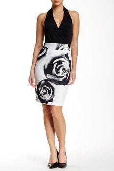 Alexia Admor V-Halter Floral Midi Dress