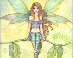 Gothic Angel Fairy Fine Art Print 'Autumn by MollyHarrisonArt