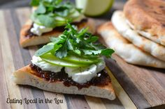 Fig Butter, Goat Cheese and Arugula Flatbread ~ a simple yet elegant lunch!