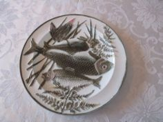 #1 Antique Wedgwood Argenta Majolica Triple Fish Plate Exc Cond - gorgeous!