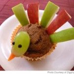 Turkey muffins ~ any kind of muffin with apples & grapes.  Easy to make and a healthy treat! Preschool treat?