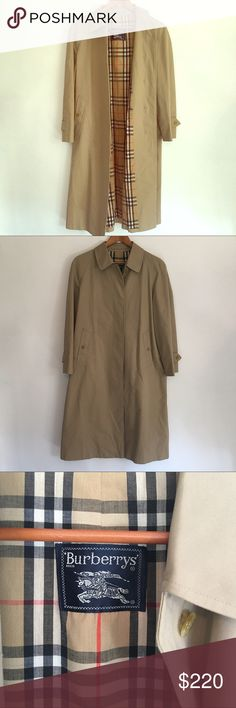 Burberry Trench Coat Beautiful Jacket 12petite                                       Missing button on bottom slit not noticeable from outside. Has a hole on bottom also. Please refer to last pics! Burberry Jackets & Coats Trench Coats