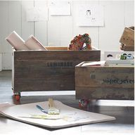 toy box on wheels.  Dress up plywood by painting with chalkboard paint so kids can draw on it.