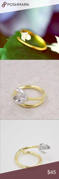 Silver and gold plated Lotus bud Adjustable Ring Silver and gold plated Lotus bud Adjustable Ring Jewelry Rings