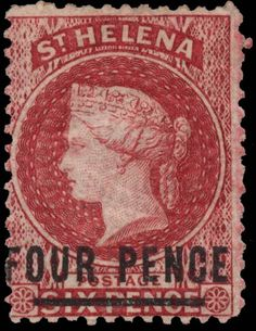 Surcharged Four Pence on Six Pence – Type B Colonial, Crown Colony, East India Company, St Helena, Vintage Stamps, King George, Stamp Collecting, Cymru, Vintage World Maps