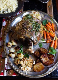 Roast Leg of Lamb & Mint Pesto. Roast Leg of Lamb & Mint Pesto - simply seasoned the meat with salt and black pepper a few sprigs of rosemary and thyme. Lamb Recipes, Meat Recipes, Chicken Recipes, Cooking Recipes, Healthy Recipes, Cooking Dishes, Oven Baked Steak, Baked Roast, Roast Lamb Leg