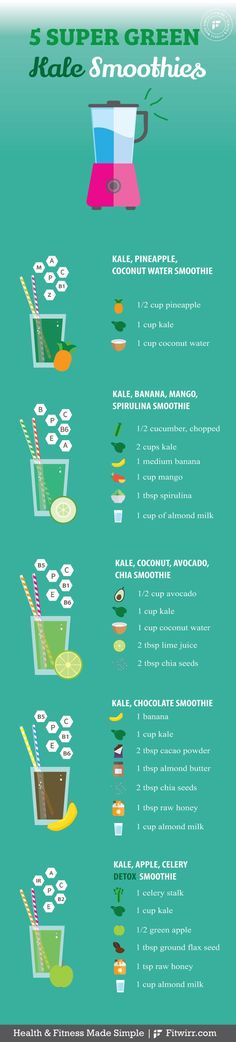 5 Tasty Kale Smoothies You Have to Try - 5 super green kale recipes to try. Vegetarian Smoothies, Kale Smoothie Recipes, Healthy Green Smoothies, Healthy Breakfast Smoothies, Kale Recipes, Easy Smoothies, Smoothie Drinks, Weight Loss Smoothies, Fruit Smoothies