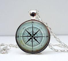 vintage compas brujula steampunk charm necklace by hotarunoyoru, €8.90