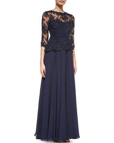 3/4-Sleeve Lace Chiffon Peplum Gown