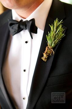 Brides: Creative Boutonniere Ideas: Herbs