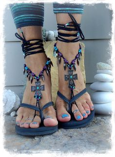 Goth CROSS BAREFOOT Sandals music FESTIVAL sandals by GPyoga
