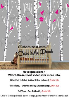 Birch Tree Decal More Realistic Reusable by NurseryDecalsNMore2