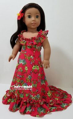 Luau (pattern by All Dolled Up-Doll Clothes) gown for Nanea - American Girl Dress, American Girl Clothes, American Girls, African Dresses For Kids, African Fashion Dresses, Doll Fancy Dress, Ag Doll Clothes, Little Girl Fashion, Kids Fashion