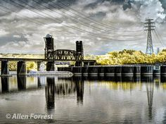 Railroad bridge over the Tennessee River, near Chickamauga Dam, Chattanooga, Tennessee. (Infrared photo using 695nm filter on a Panasonic-full-spectrum-modified GH2))