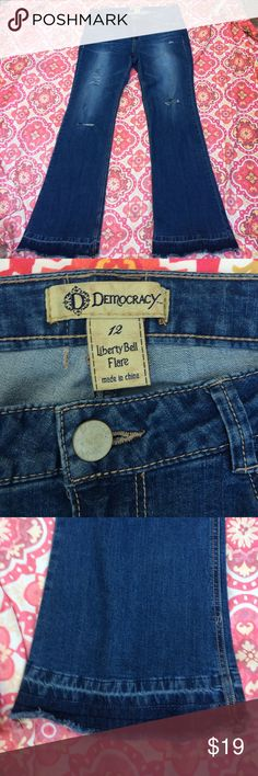 Democracy jeans liberty bell flare size 12 used Democracy jeans liberty bell flare size 12 inseam approximately 33 inches used distressed in all the right places please make sure you look at the pictures with the him great feel nice wash price accordingly democracy jeans Jeans Flare & Wide Leg