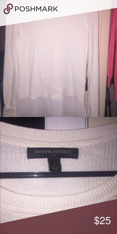 Crew neck sweater with mesh bottom Bought this last year and haven't worn since its so cute on and in perfect condition Banana Republic Tops Tees - Long Sleeve