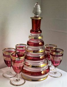 7 Pc Set Liquor Bottle and Matching Glasses in Red Decoration