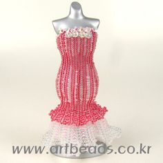 Beaded pink 3D Dress PATTERN for experienced