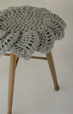 crochet stool cover. Pattern comes from this book, Crochet cushions for Stools. http://www.etsy.com/listing/83355099/crochet-cushions-for-stools-4-japanese?utm_source=OpenGraph_medium=PageTools_campaign=Share