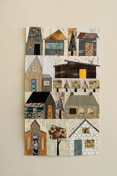 Patchwork quilt houses using foundation paper piecing Quilting Projects, Quilting Designs, Sewing Projects, House Quilt Block, Quilt Blocks, House Quilt Patterns, Patchwork Quilting, Small Quilts, Mini Quilts