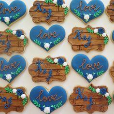 Rustic wedding cookies Wedding Cookies, Cookie Ideas, Sugar Cookies, Rustic Wedding, Desserts, Food, Cookies, Tailgate Desserts, Deserts