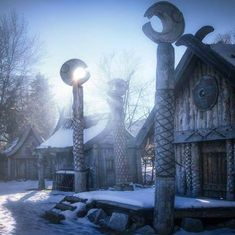 Viking houses (Look familiar? The Two Tower's movie this is the Rohan Palace!);