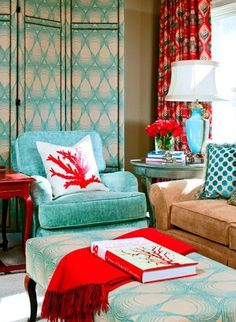 When mixing up patterns, try contrasting complimentary colors to energize the room!