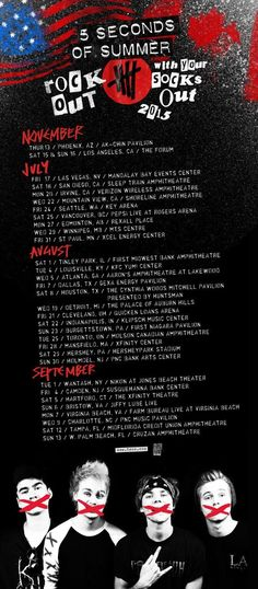 5SOS US and Canada tour dates! OMG THEY'RE GOING TO CLEVELAND
