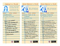 Staff picks bookmark for Sherrill Library staff member Ann-Marie's and Jamie's recommendations.