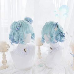 Kawaii Hairstyles, Bun Hairstyles, Pretty Hairstyles, Cosplay Hair, Cosplay Wigs, Pastel Wig, Pastel Blue Hair, Pink Wig, Kawaii Wigs