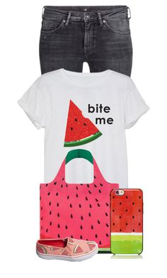 """Watermelon Style"" by lillmaddie ❤ liked on Polyvore featuring H&M, LOQI, Kate Spade and Keds"