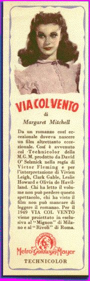 Promotional bookmark,  published by Metro-Goldwyn-Mayer Bros. 1949 Gone With the Wind,  Vivien Leigh
