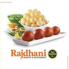 Rajdhani Sweets & Restaurant - one of the best Indian vegetarian food restaurant in Brampton, Etobicoke, Torbram, Bovaird. Indian Food Recipes, Vegetarian Recipes, South Indian Food, Indian Sweets, Catering Services, Restaurant, Pure Products, Snacks, Dining