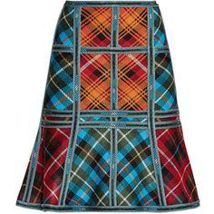 Herve Leger Janine Plaid-Blocked Caging Detail Skirt