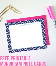Free Printable Monogram Chevron Note Cards - these make great personalized gifts!