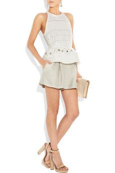 3.1 Phillip Lim Eyelet-embroidered silk and cotton-blend peplum top