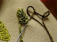 photos of embroidery different herbs, which are decorated with embroidery ribbons